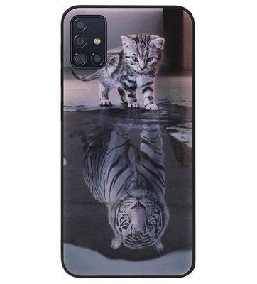 ADEL Siliconen Back Cover Softcase Hoesje voor Samsung Galaxy A71 - Poezen Schaduw Tijger
