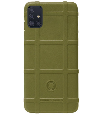 RUGGED SHIELD Rubber Bumper Case Hoesje voor Samsung Galaxy A71 - Groen
