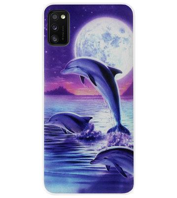 ADEL Kunststof Back Cover Hardcase Hoesje voor Samsung Galaxy A41 - Dolfijn Blauw