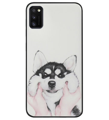 ADEL Siliconen Back Cover Softcase Hoesje voor Samsung Galaxy A41 - Husky Hond