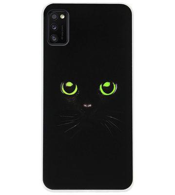 ADEL Siliconen Back Cover Softcase Hoesje voor Samsung Galaxy A41 - Katten Zwart Groene Ogen
