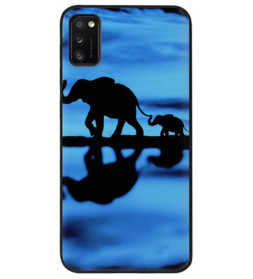 ADEL Siliconen Back Cover Softcase Hoesje voor Samsung Galaxy A41 - Olifant Familie