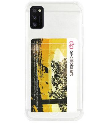 ADEL Siliconen Back Cover Softcase Hoesje voor Samsung Galaxy A41 - Pasjeshouder Doorzichtig