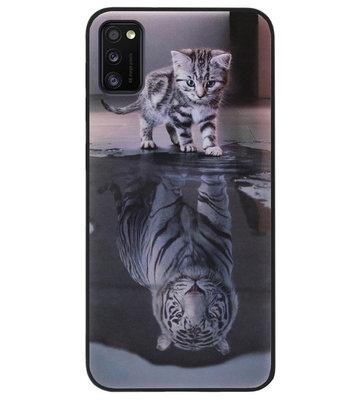 ADEL Siliconen Back Cover Softcase Hoesje voor Samsung Galaxy A41 - Poezen Schaduw Tijger