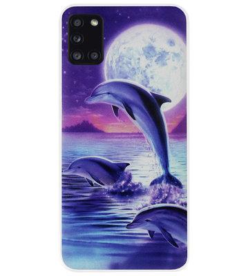 ADEL Kunststof Back Cover Hardcase Hoesje voor Samsung Galaxy A31 - Dolfijn Blauw