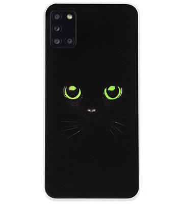 ADEL Siliconen Back Cover Softcase Hoesje voor Samsung Galaxy A31 - Katten Zwart Groene Ogen