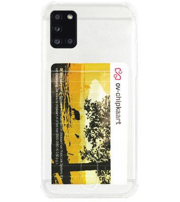 ADEL Siliconen Back Cover Softcase Hoesje voor Samsung Galaxy A31 - Pasjeshouder Doorzichtig