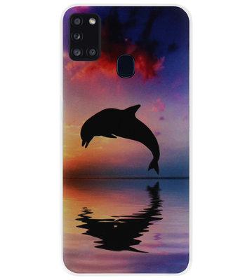 ADEL Kunststof Back Cover Hardcase Hoesje voor Samsung Galaxy A21s - Dolfijn
