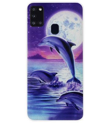 ADEL Kunststof Back Cover Hardcase Hoesje voor Samsung Galaxy A21s - Dolfijn Blauw