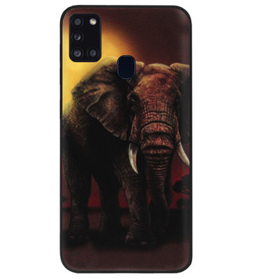 ADEL Siliconen Back Cover Softcase Hoesje voor Samsung Galaxy A21s - Olifanten