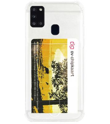 ADEL Siliconen Back Cover Softcase Hoesje voor Samsung Galaxy A21s - Pasjeshouder Doorzichtig