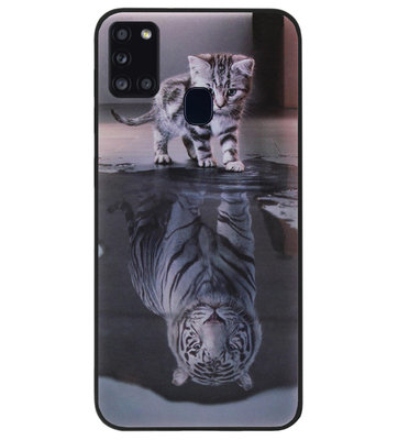 ADEL Siliconen Back Cover Softcase Hoesje voor Samsung Galaxy A21s - Poezen Schaduw Tijger