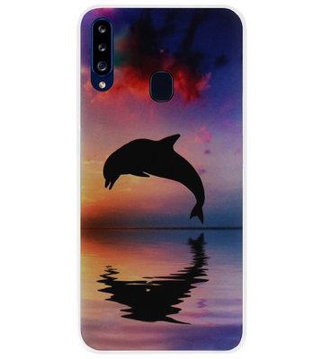 ADEL Kunststof Back Cover Hardcase Hoesje voor Samsung Galaxy A20s - Dolfijn