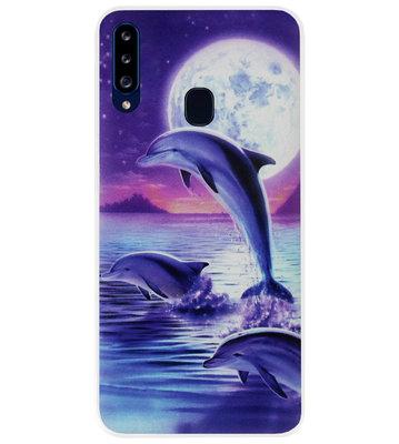 ADEL Kunststof Back Cover Hardcase Hoesje voor Samsung Galaxy A20s - Dolfijn Blauw