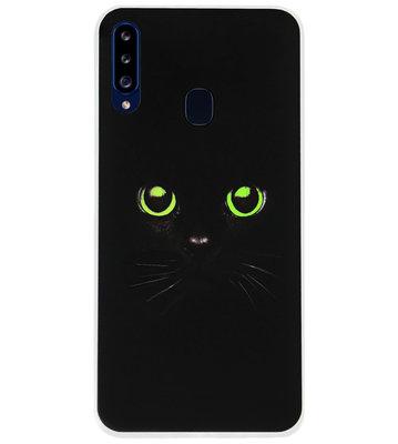 ADEL Siliconen Back Cover Softcase Hoesje voor Samsung Galaxy A20s - Katten Zwart Groene Ogen