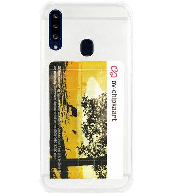 ADEL Siliconen Back Cover Softcase Hoesje voor Samsung Galaxy A20s - Pasjeshouder Doorzichtig