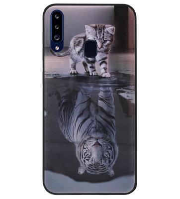 ADEL Siliconen Back Cover Softcase Hoesje voor Samsung Galaxy A20s - Poezen Schaduw Tijger