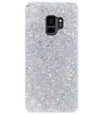 ADEL Premium Siliconen Back Cover Softcase Hoesje voor Samsung Galaxy S9 - Bling Bling Glitter Zilver