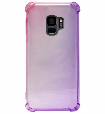 ADEL Siliconen Back Cover Softcase Hoesje voor Samsung Galaxy S9 - Kleurovergang Roze Paars