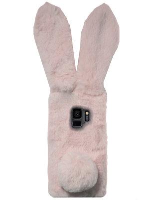 ADEL Siliconen Back Cover Softcase Hoesje voor Samsung Galaxy S9 - Roze Konijn Pluche Stof