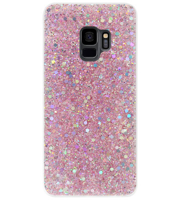 ADEL Premium Siliconen Back Cover Softcase Hoesje voor Samsung Galaxy S9 - Bling Bling Roze