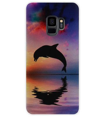 ADEL Kunststof Back Cover Hardcase Hoesje voor Samsung Galaxy S9 - Dolfijn Blauw