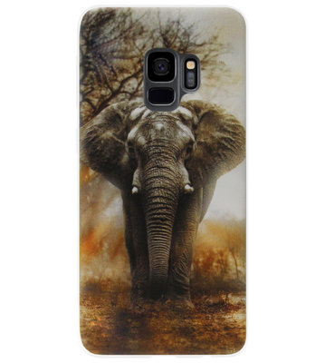 ADEL Siliconen Back Cover Softcase Hoesje voor Samsung Galaxy S9 - Olifanten