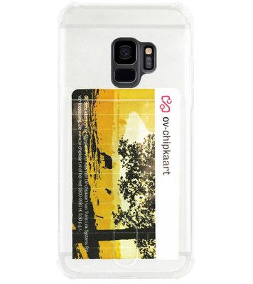 ADEL Siliconen Back Cover Softcase Hoesje voor Samsung Galaxy S9 - Pasjeshouder Doorzichtig