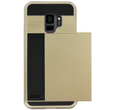 ADEL Kunststof Back Cover Hardcase Hoesje voor Samsung Galaxy S9 - Pasjeshouder Goud
