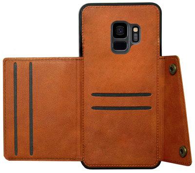 ADEL Kunstleren Back Cover Pasjeshouder Hoesje voor Samsung Galaxy S9 - Bruin