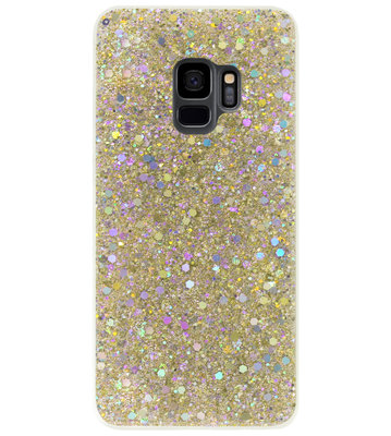 ADEL Premium Siliconen Back Cover Softcase Hoesje voor Samsung Galaxy S9 - Bling Bling Glitter Goud