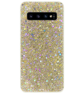 ADEL Premium Siliconen Back Cover Softcase Hoesje voor Samsung Galaxy S10 - Bling Bling Glitter Goud