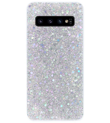 ADEL Premium Siliconen Back Cover Softcase Hoesje voor Samsung Galaxy S10 - Bling Bling Glitter Zilver
