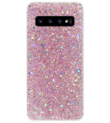 ADEL Premium Siliconen Back Cover Softcase Hoesje voor Samsung Galaxy S10 - Bling Bling Roze