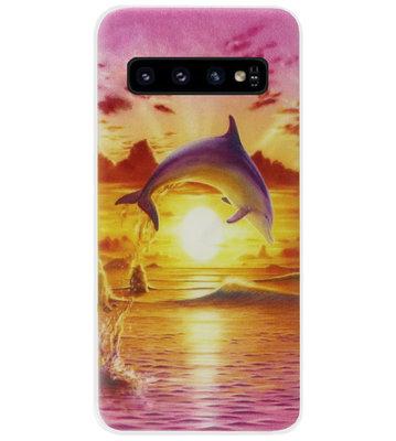 ADEL Kunststof Back Cover Hardcase Hoesje voor Samsung Galaxy S10 - Dolfijn
