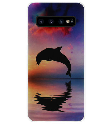 ADEL Kunststof Back Cover Hardcase Hoesje voor Samsung Galaxy S10 - Dolfijn Blauw