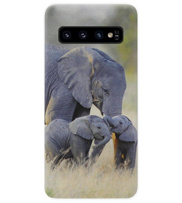 ADEL Siliconen Back Cover Softcase Hoesje voor Samsung Galaxy S10 - Olifant Familie