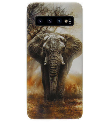 ADEL Siliconen Back Cover Softcase Hoesje voor Samsung Galaxy S10 - Olifanten