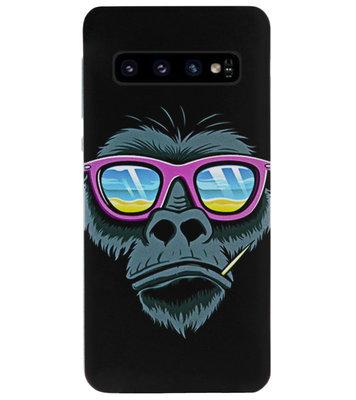 ADEL Siliconen Back Cover Softcase Hoesje voor Samsung Galaxy S10 - Gorilla Apen