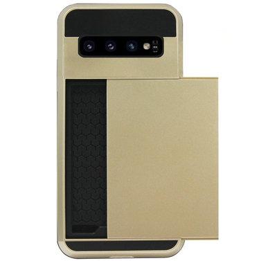 ADEL Kunststof Back Cover Hardcase Hoesje voor Samsung Galaxy S10 - Pasjeshouder Goud