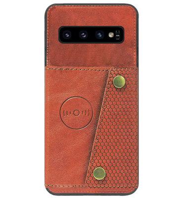 ADEL Kunstleren Back Cover Pasjeshouder Hoesje voor Samsung Galaxy S10 - Bruin