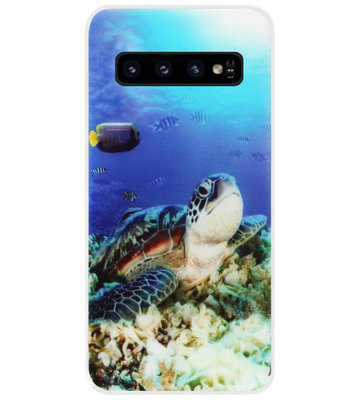 ADEL Siliconen Back Cover Softcase Hoesje voor Samsung Galaxy S10 - Schildpad