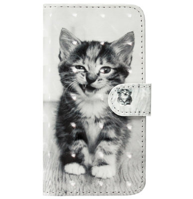 ADEL Kunstleren Book Case Pasjes Portemonnee Hoesje voor Samsung Galaxy S10 - Kat