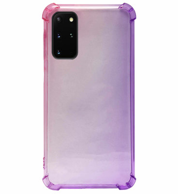 ADEL Siliconen Back Cover Softcase Hoesje voor Samsung Galaxy S20 - Kleurovergang Roze Paars