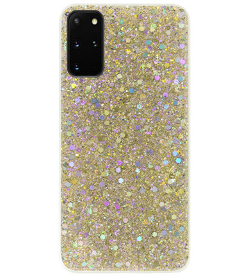 ADEL Premium Siliconen Back Cover Softcase Hoesje voor Samsung Galaxy S20 Plus - Bling Bling Glitter Goud