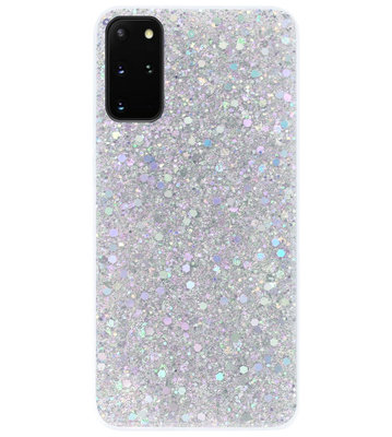 ADEL Premium Siliconen Back Cover Softcase Hoesje voor Samsung Galaxy S20 Plus - Bling Bling Glitter Zilver