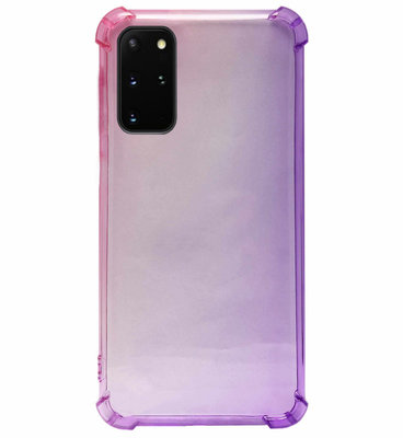 ADEL Siliconen Back Cover Softcase Hoesje voor Samsung Galaxy S20 Plus - Kleurovergang Roze Paars