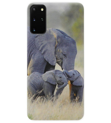 ADEL Siliconen Back Cover Softcase Hoesje voor Samsung Galaxy S20 Plus - Olifant Familie