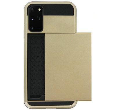 ADEL Kunststof Back Cover Hardcase Hoesje voor Samsung Galaxy S20 Plus - Pasjeshouder Goud