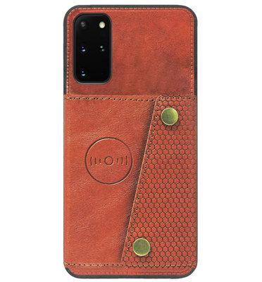 ADEL Kunstleren Back Cover Pasjeshouder Hoesje voor Samsung Galaxy S20 Plus - Bruin